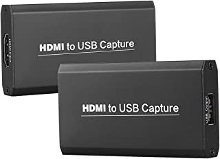 KuWFi USB Video Capture Dongle Adapter Card Portable 4K 1080P Live Stream Capture Card for VLC/OBS/Amcap