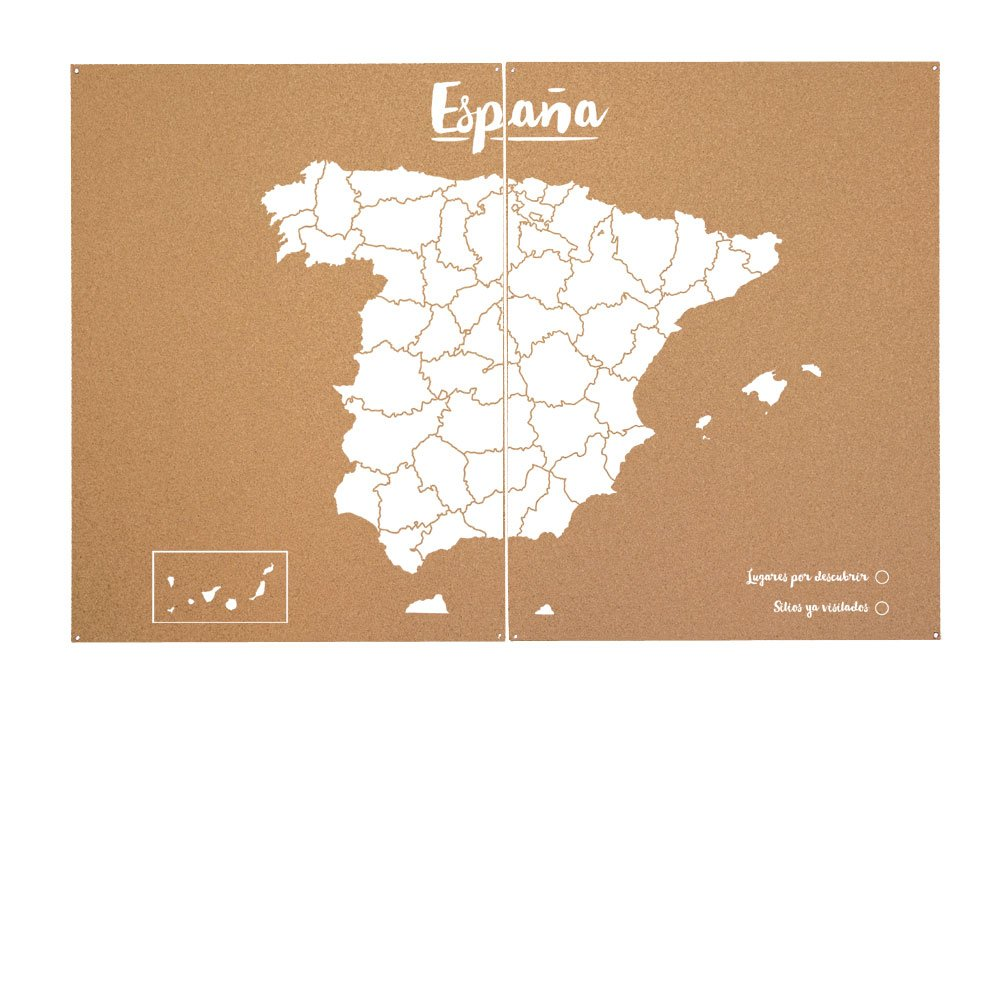 Miss Wood Mapa de España de Corcho, Pino, Blanco, XXL-90x120cm: Amazon.es: Hogar