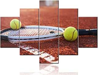 TUMOVO 5 Pieces Premium Quality Canvas Printed Wall Art New York Tennis Ball with Racket Painting Canvas Wall Decor Framed...
