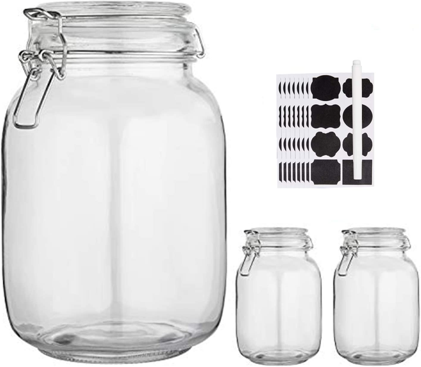 Buy Glass Kitchen Storage Canister Mason Jars With Lids 50oz Airtight Glass Canister With Hinged Lid Perfect For Kitchen Canning Cereal Pasta Sugar Beans Labels Chalk Marker Set Of 3 Online In Turkey B07sj3ltd4