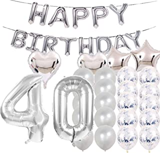 Sweet 40th Birthday Decorations Party Supplies,Silver Number 40 Balloons,40th Foil Mylar Balloons Latex Balloon Decoration,Great 40th Birthday Gifts for Girls,Women,Men,Photo Props