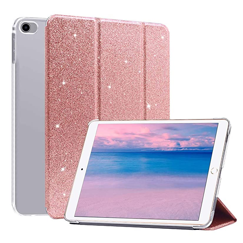 CASZONE iPad Air 2 Case, iPad 9.7 2018/2017 Trifold Glitter Bling Lightweight Smart Stand Cover with Auto Sleep/Wake Luxury Faux Leather Protective Sleeve for Apple iPad 6th/5th/Air 9.7inch,Rose Gold
