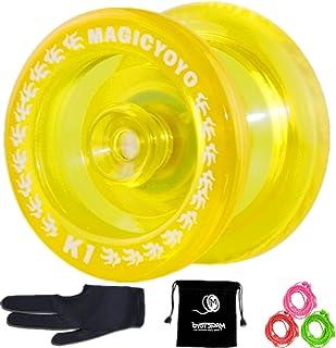 Responsive YoYo MAGIC YOYO K1-Plus Yoyos for kids with Pro Yoyo Bag/Sack + 3 Strings and Yo-Yo Glove Gift (Crystal Yellow)