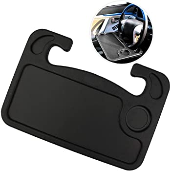 Zone Tech Multi-Functional Portable Car Laptop and Food Steering Wheel Tray - Black Table/Car Vehicle Seat Portable Mount Tray Laptop Notebook Table Eating Desk