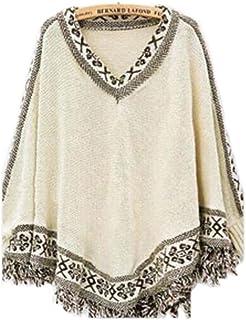 ノーブランド品 袖付き ゆったりフリンジ ニット ポンチョ kn-025 フリーサイズ 1.ホワイト