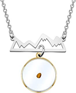 KUIYAI Mustard Seed Pendant Necklace Mountain Necklace If You Have Faith as Small as Mustard Seed You Can Move Mountains M...