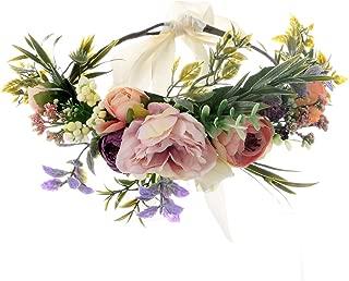 UUPP Bridal Flower Headband Artificial Flower Crown Wreath Headpiece with Adjustable Ribbon for Wedding Festivals