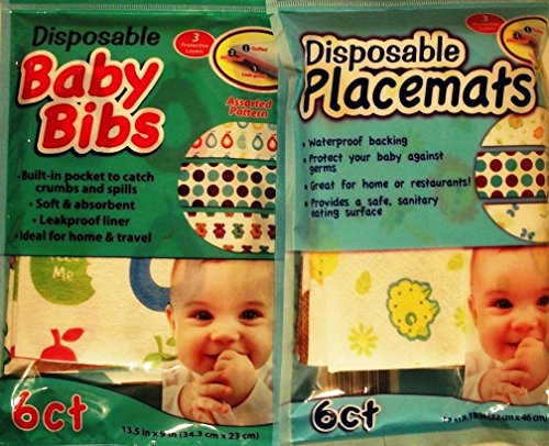Price comparison product image Disposable Baby Bibs & Placemats - 6 Ct Each - Ideal for Home & Travel