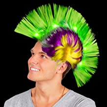 Fun Central LED Light Up Mohawk Wig Headband for Women & Men - Mardi Gras Party Accessories