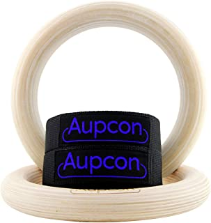 AUPCON Wooden Gymnastics Rings with Heavy Duty Adjustable Straps - Olympic Gym Ring for Strength Training, Workout, Bodybuilding, Cross Training, Fitness, Pull-Ups and Dip