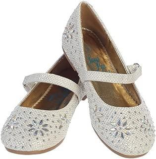 Swea Pea /& Lilli Girls Black Glitter Floral Stud Flat Shoes 11-4 Kids