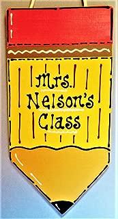 Delia32Agnes Personalized Teacher Pencil Sign Name Plaque School Class Classroom Wall Hanger Decor Handcrafted Hand Painted Wood Wooden Door Hanger