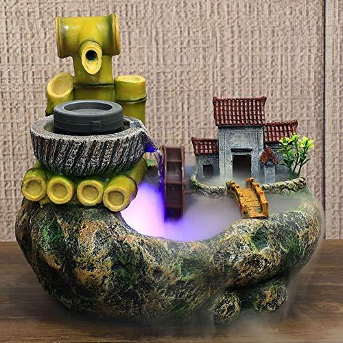 J-Clock Fuentes Mesa Cascada Interior, Fuentes Zen con decoración Luces para Oficina, Sala Estar, Dormitorio, Adornos Feng Shui, Fuente idílica Cascada montaña, A