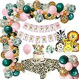 MMTX Decoraciones para Fiesta de Cumpleaños con Globos de la Jungla, Animales de Safari con Pancarta de Feliz Cumpleaños, Decoraciones Globos de Látex de Bosque Salvaje y Cubierta de Mesa de Leopardo