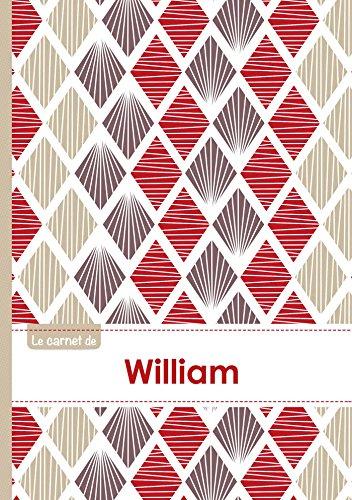 Le carnet de William - Lignes, 96p, A5 - Pétales Japonaises Violette Taupe Rouge (Adulte)