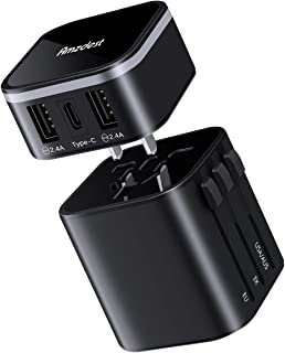 Universal Travel Adapter, Amzdest Detachable International Power Adapter with 3A Type-C & 2 USB, Worldwide All in One Travel Power Adapter for USA EU UK AUS Cell Phone Tablet Laptop