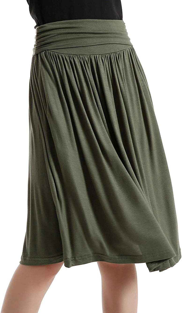 HUILAN Women's Casual Pleated High Waist Elastic Pocket Skirt