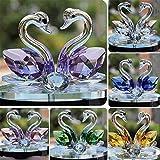 Figura de cristal de cisne creativa de cristal de pisapapeles adorno de colección de sala de estar d...
