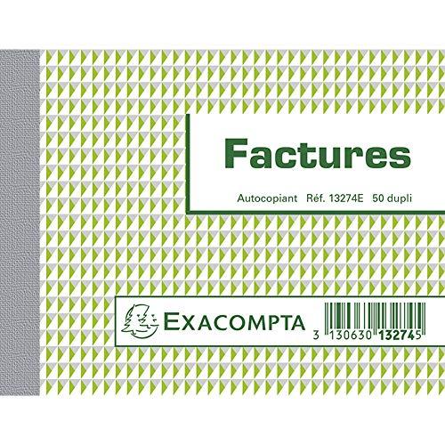 Exacompta 13274E Manifold Factures 10,5 x 13,5 cm 50 feuillets Dupli autocopiants