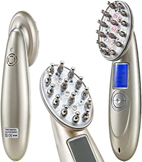 Portable RF soft laser introduction adjustable gear high frequency vibration laser head large LCD display frequency anti-hair loss electric head massager