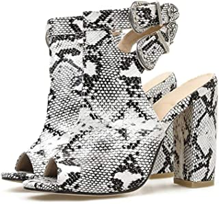 Open Toe Sandals, Dinner Shoes, Wedding Shoes, Nightclub Shoes (Color : Snake Pattern, Size : 40)