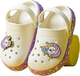 Hopscotch Boys and Girls EVA Unicorn Applique Clogs in Beige Color