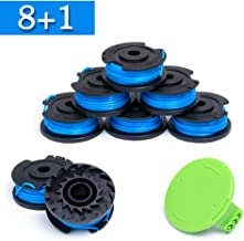 FutureWay String Trimmer Replacement Spool Line 0.065 21332 21342 24 40 80 V, Compatible with GreenWorks 29252, Weed Eater String Autofeed 3411546A-6 Cap, Cordless Trimmer Line 16ft, 8 Spools + 1 Cap