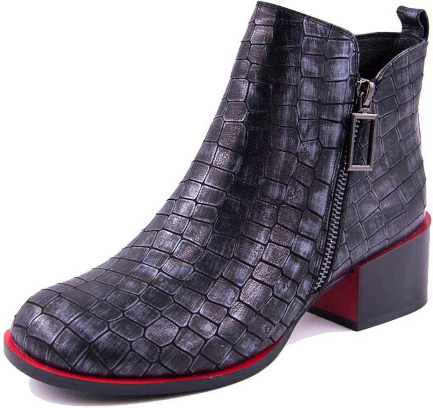 A-BUYBEA Women's Pebbled Croc Leather Low Heel Zipper Ankle Boots 5-8