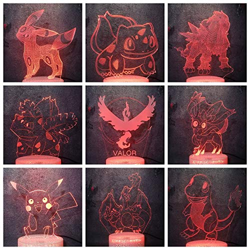 Science Fiction Animated Film Creative Model Night Light 3D Pokespawn Bulbasaur Pikachu Leafeon Espeon LED Crack Lamp