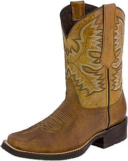Scarpe Stivali da Cowboy Occidentali a Tacco Basso in Pelle Antiscivolo con Punta Tonda