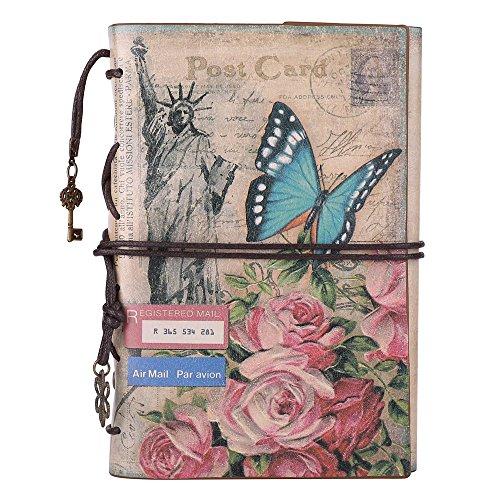 Leder Tagebuch Notizbuch, Jahrgang Wieder auffüllbar Reise Tagebuch Daily Planner Sketchbook für Frauen Männer mit Reißverschlusstasche und Blanko Papier