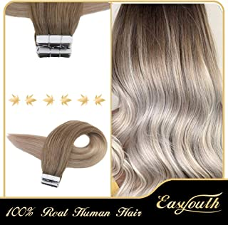 Easyouth Seamless Tape in Hair Extensions 100 Percent Real Human Hair 18inch Silky Straight Hair Balayage Color 8 Fading to 60 And 18 Blonde 40g 20pcs Skin Weft Tape on Hair Extensions