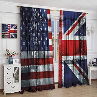 GUUVOR Union Jack Blackout Curtain Set Alliance Togetherness Theme Composition of UK and USA Flags Vintage Kindergarten Shading Insulation W108 x L108 Inch Navy Blue Red White