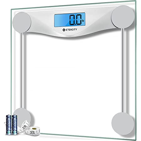 Etekcity Digital Body Weight Bathroom Scale with Body Tape Measure, Large Blue LCD Backlight Display, High Precision Measurements,6mm Tempered Glass, 400 Pounds