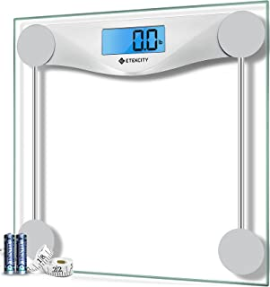 Etekcity Digital Body Weight Bathroom Scale with Body Tape Measure, 8mm Tempered Glass, 400 Pounds