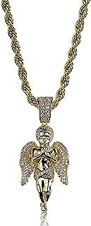 Hiphop Necklace, الهيب هوب مثلج خارج بلينغ الأيدي معا ملاك قلادة 18 كيلو الذهب مطلي سلسلة قلادة للرجال النساء