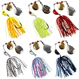 Spinner Baits Bass Fishing Lures Kit,Colorado Blade Spinnerbait Assortment Hard Metal Buzzbait Swimbait for Trout Pike Salmon Crappie Freshwater Saltwater Fishing 3/4oz