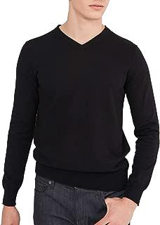 Men's Essential V-Neck Sweater Cotton Cashmere Lightweight Long Sleeve Pullover