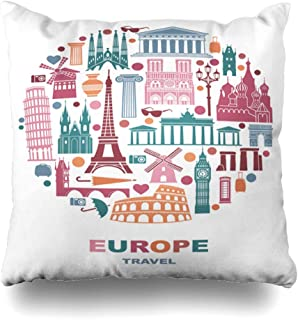 Abaysto Attraction Europe Detailed Form Circle France Barcelona Ben Berlin Big Design Culture Pillow Cases Cushion Case Size:24x24 Inches