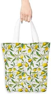 Reusable Shopping Grocery Bags,Nature Flowering Lemon Woody Plant Romance Habitat Citrus Fresh Background,Organic Cotton Washable & Eco-friendly Bags,16.5