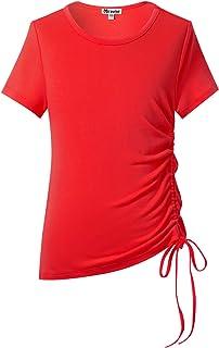 Mirawise Girls Casual Long Sleeve Shirts Tunic Tops Tee Shirt T-Shirts Side Tie Blouse 4-13Y