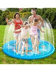 MonQi 1* 68 Pulgadas Splash Pad + 5 * Enchufe de Oído Impermeable y Clip para la Nariz, Juego de Salpicaduras y Salpicaduras, Almohadilla de aspersión para 5 Niños Jugar Juntos