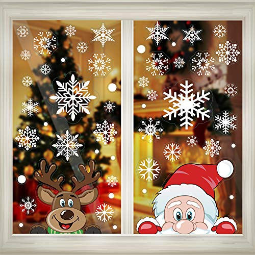 300 PCS 8 Sheet Christmas Snowflake Window Cling Stickers for Glass Xmas Decals Decorations Holiday Snowflake Santa Claus Reindeer Decals for Party