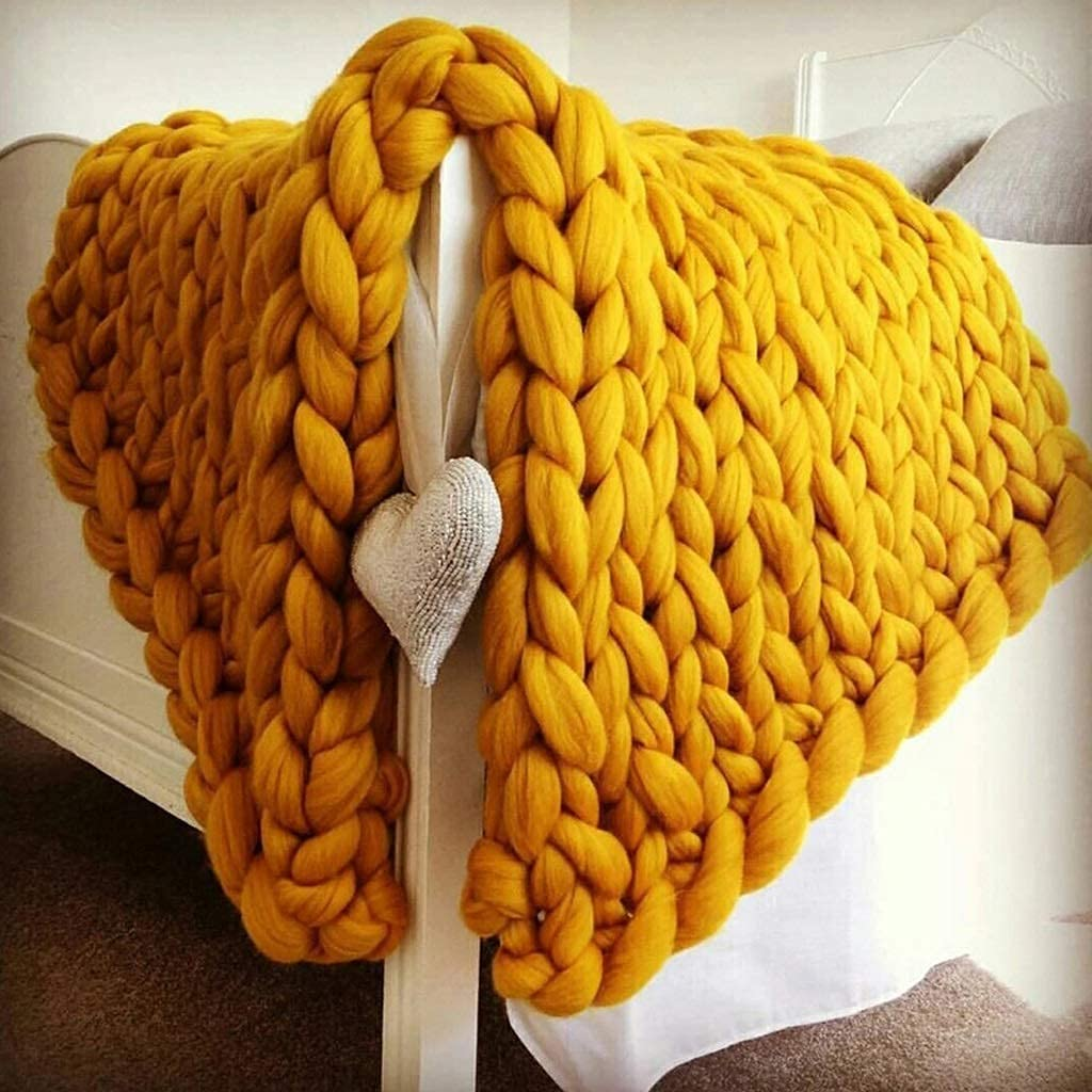 Translated WYJ Giant Knit Blanket Handmade Thick Max 61% OFF Chunky Soft Knitted
