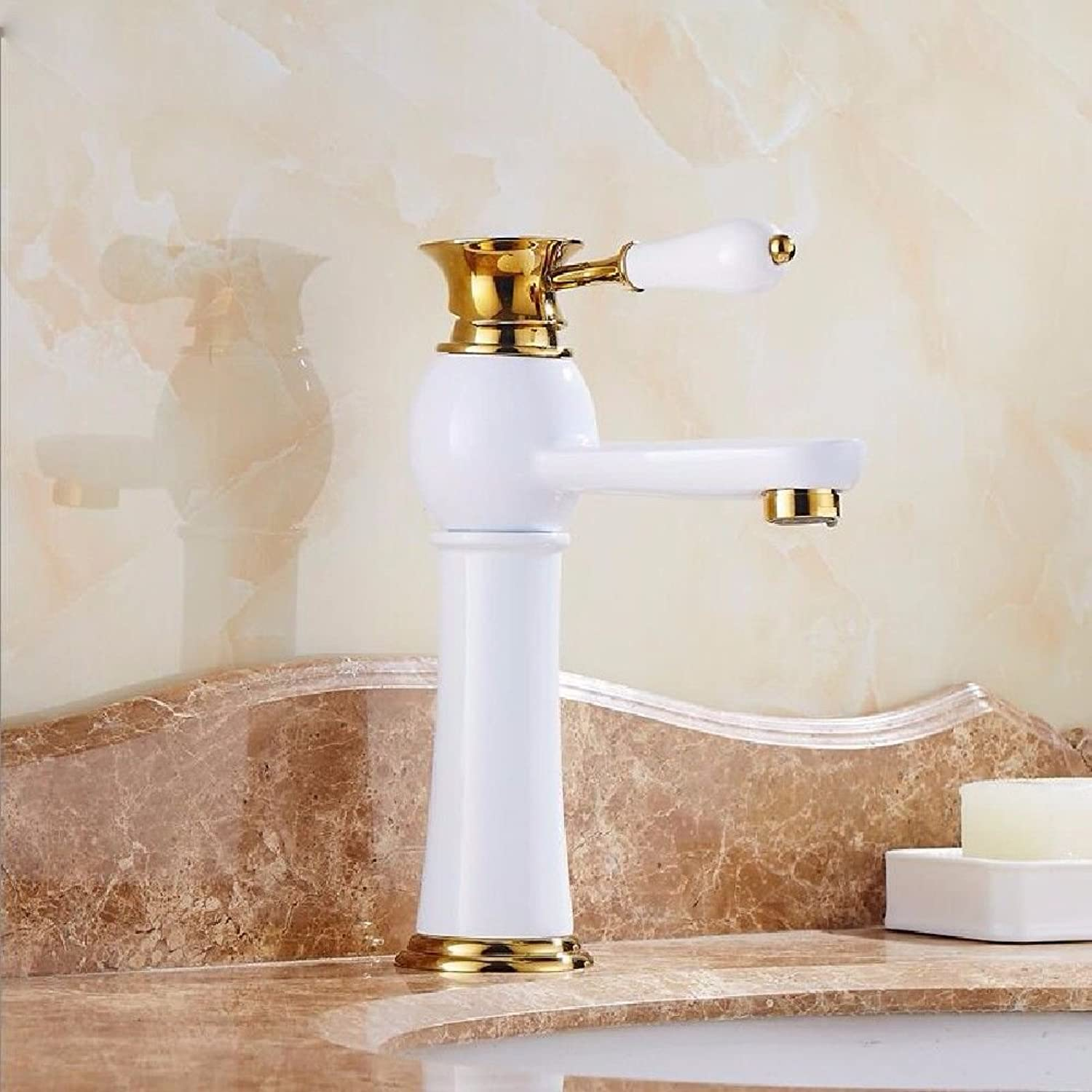 NewBorn Faucet Kitchen Or Bathroom Sink Mixer Tap gold And White Hot And Cold Toast White Paint Full Copper Wash Low