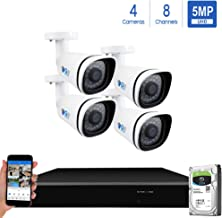 GW Security H.265 Video Audio Recording IP Camera System, 8 Channel 4K NVR, 4 x 5MP HD 1920P PoE Bullet Security Camera Built-in Microphone Outdoor Indoor, QR-Code Connection