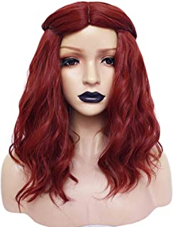 Anogol Hair Cap+Red Cosplay Wig with Middle Part Red Synthetic Wig for Women Wavy Wigs for Makeup