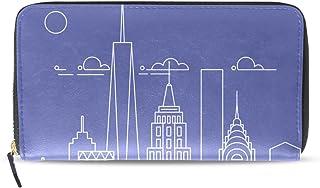 旅立の店 長財布 人気 レディース メンズ 大容量多機能 二つ折り ラウンドファスナー PUレザー  都市景観プリント ニューヨーク市 ウォレット