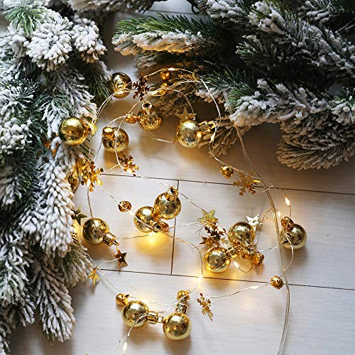 Houkiper 2m 20LEDs Christmas LED String Light With Bells Snowflake Xmas trees Shape Ornament Decorative Copper Wire Lamp,Battery Powered String Lights, Copper Wire Light for Bedroom,Wedding