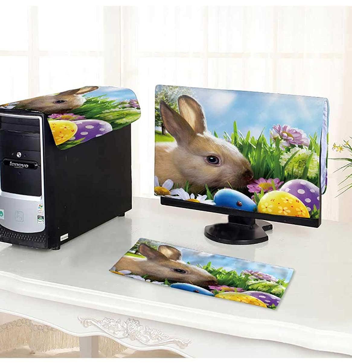 PRUNUS Computer Keyboard Dust Cover 3 Pieces Art Little Easter Bunny and Easter Eggs on Green Grass dust Cover Computer case /18